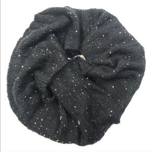 Betsey Johnson Black Sequin infinity Scarf sequin